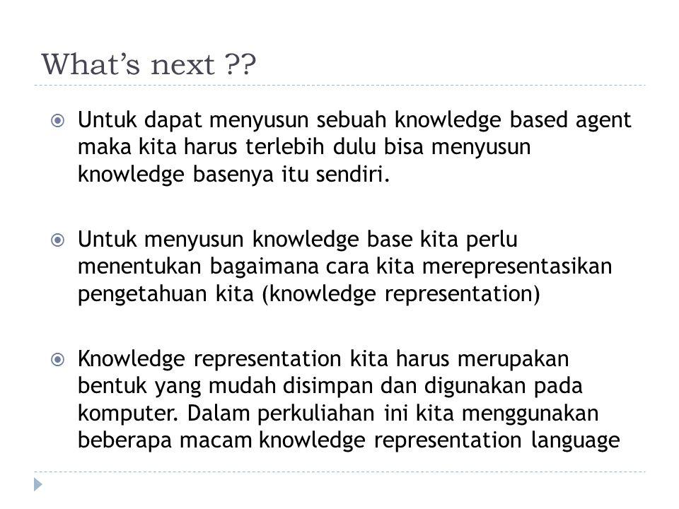 What's next Untuk dapat menyusun sebuah knowledge based agent maka kita harus terlebih dulu bisa menyusun knowledge basenya itu sendiri.