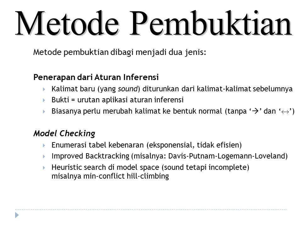 Metode Pembuktian Metode pembuktian dibagi menjadi dua jenis: