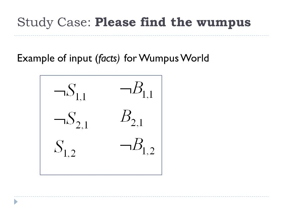 Study Case: Please find the wumpus