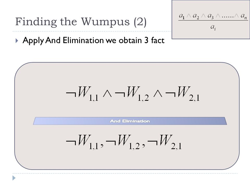 Finding the Wumpus (2) Apply And Elimination we obtain 3 fact
