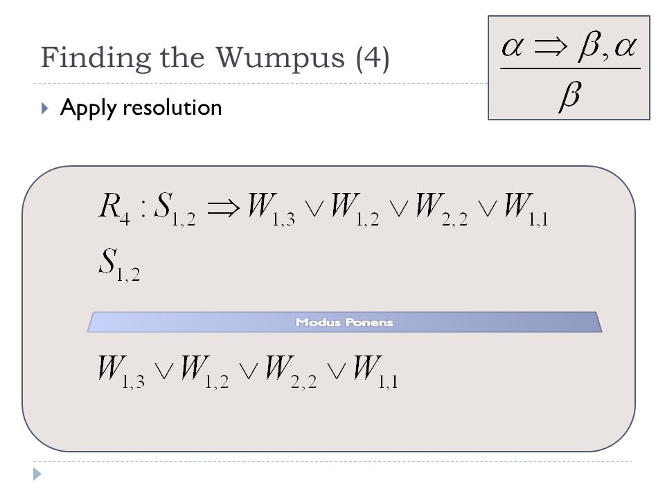 Finding the Wumpus (4) Apply resolution Modus Ponens