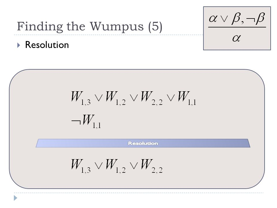 Finding the Wumpus (5) Resolution Resolution