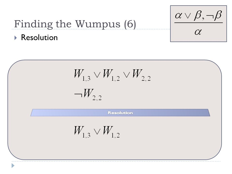 Finding the Wumpus (6) Resolution Resolution