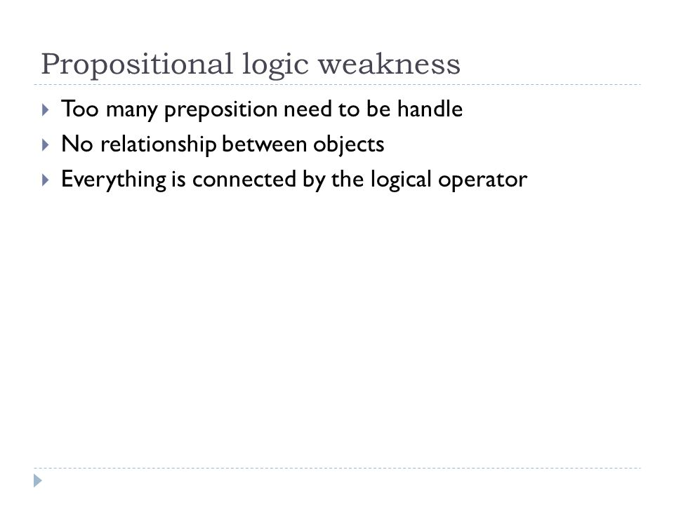 Propositional logic weakness