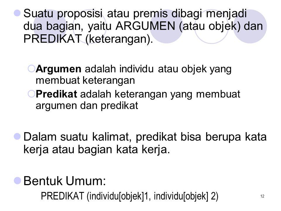 Suatu proposisi atau premis dibagi menjadi dua bagian, yaitu ARGUMEN (atau objek) dan PREDIKAT (keterangan).
