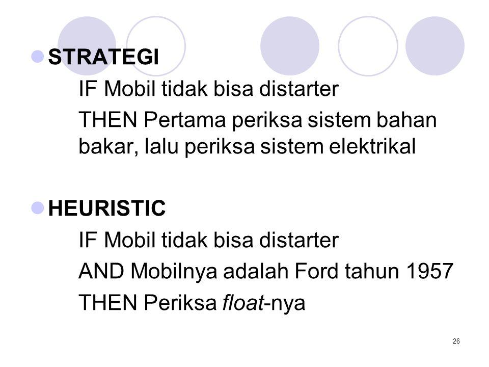 STRATEGI IF Mobil tidak bisa distarter. THEN Pertama periksa sistem bahan bakar, lalu periksa sistem elektrikal.