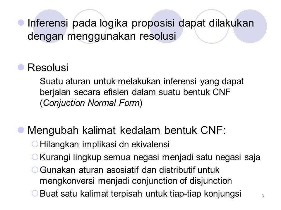 Mengubah kalimat kedalam bentuk CNF: