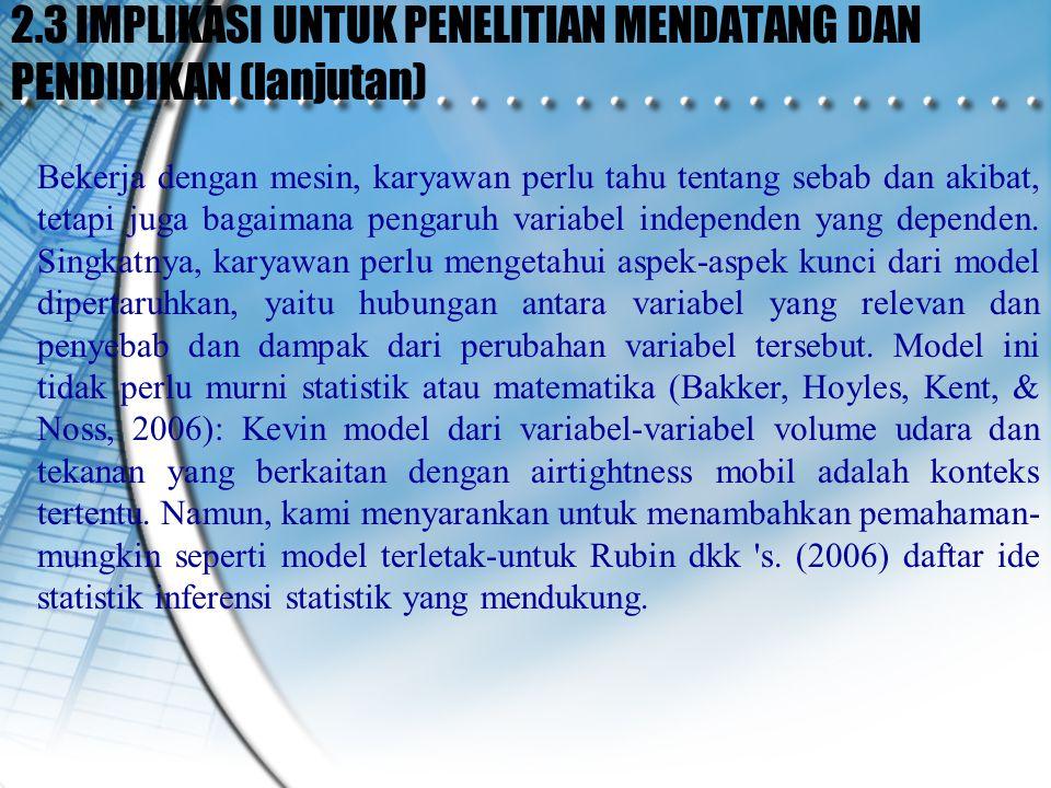 2.3 IMPLIKASI UNTUK PENELITIAN MENDATANG DAN PENDIDIKAN (lanjutan)