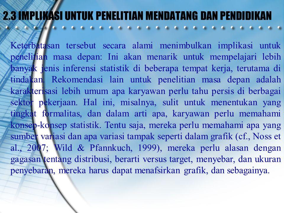2.3 IMPLIKASI UNTUK PENELITIAN MENDATANG DAN PENDIDIKAN