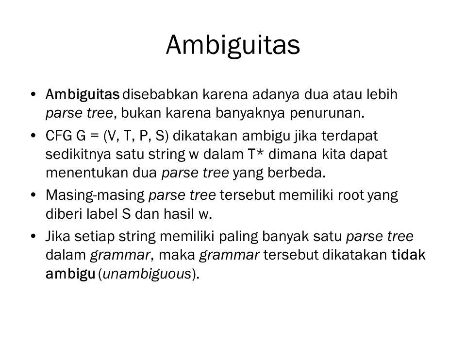 Ambiguitas Ambiguitas disebabkan karena adanya dua atau lebih parse tree, bukan karena banyaknya penurunan.