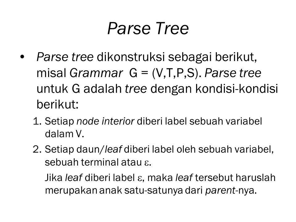 Parse Tree Parse tree dikonstruksi sebagai berikut, misal Grammar G = (V,T,P,S). Parse tree untuk G adalah tree dengan kondisi-kondisi berikut: