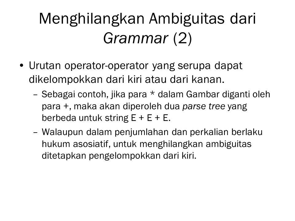 Menghilangkan Ambiguitas dari Grammar (2)