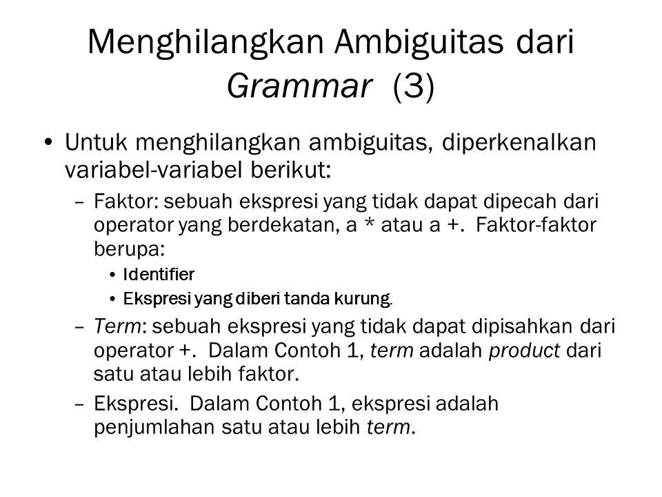 Menghilangkan Ambiguitas dari Grammar (3)