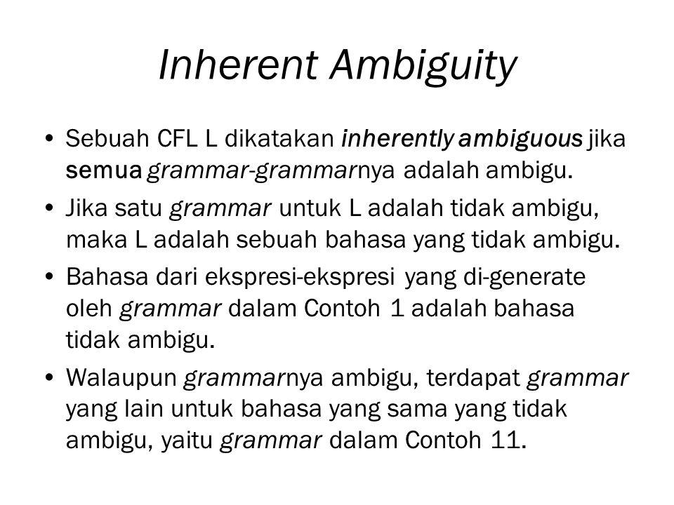 Inherent Ambiguity Sebuah CFL L dikatakan inherently ambiguous jika semua grammar-grammarnya adalah ambigu.