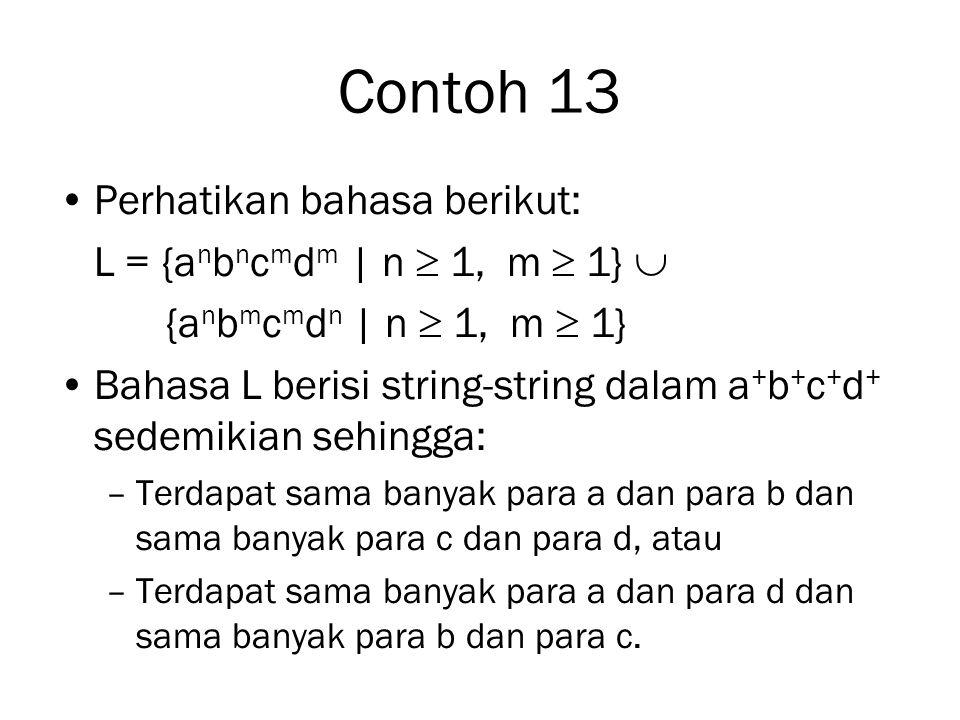 Contoh 13 Perhatikan bahasa berikut: L = {anbncmdm | n  1, m  1} 