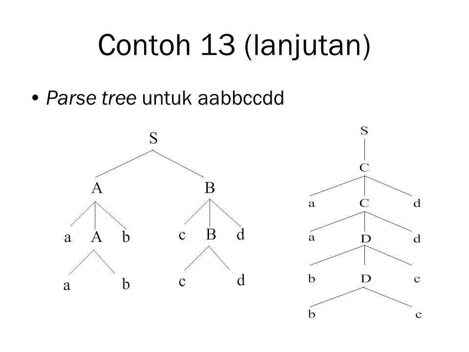 Contoh 13 (lanjutan) Parse tree untuk aabbccdd