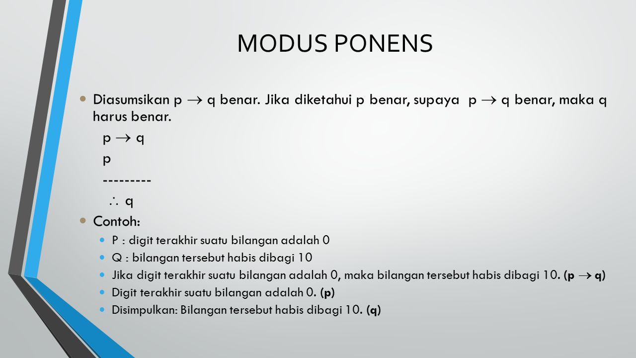 MODUS PONENS Diasumsikan p  q benar. Jika diketahui p benar, supaya p  q benar, maka q harus benar.