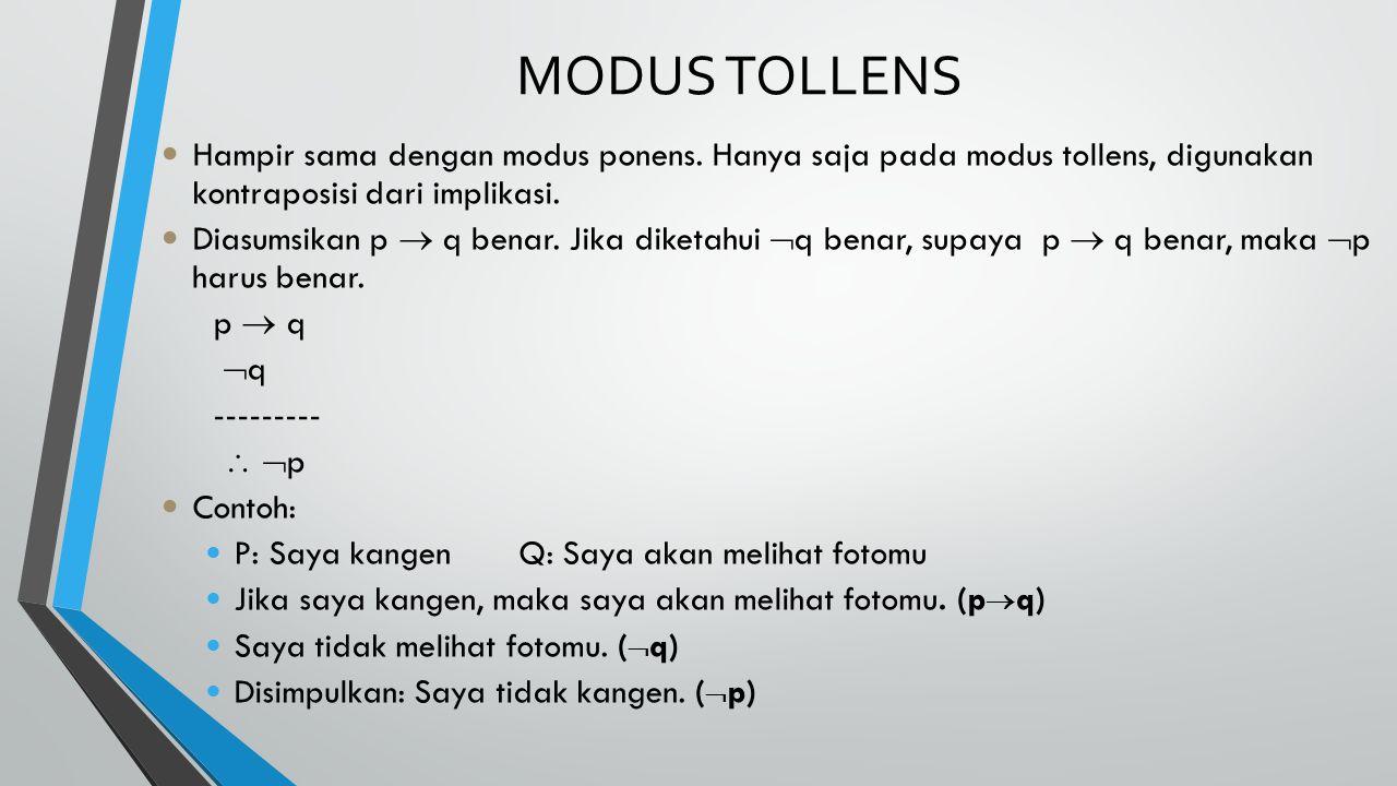 MODUS TOLLENS Hampir sama dengan modus ponens. Hanya saja pada modus tollens, digunakan kontraposisi dari implikasi.