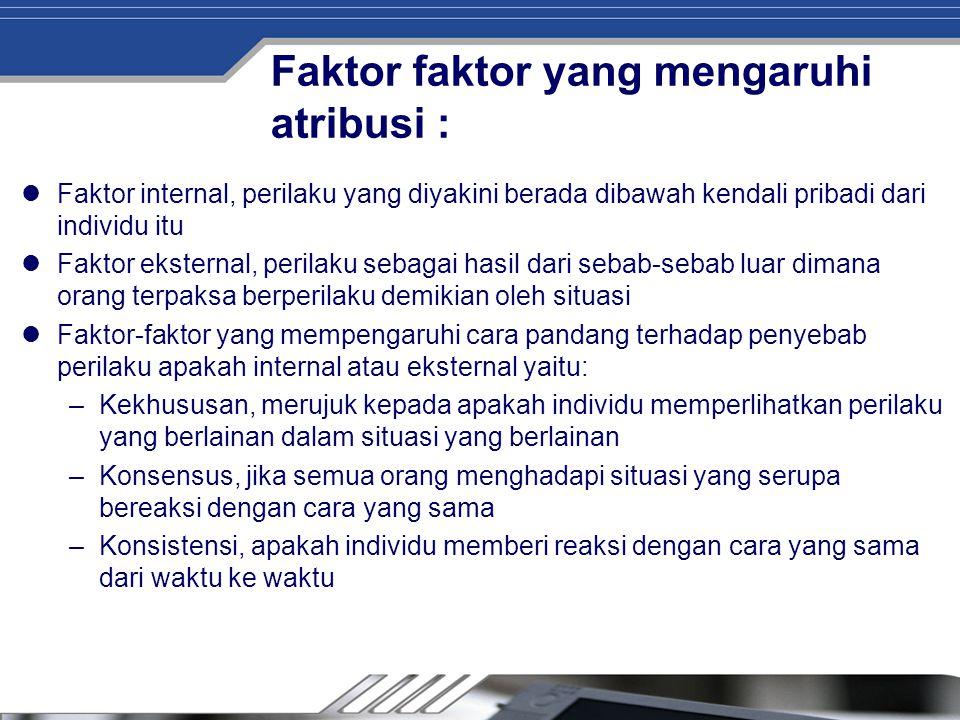 Faktor faktor yang mengaruhi atribusi :