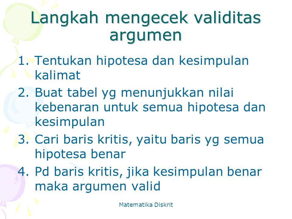 Langkah mengecek validitas argumen