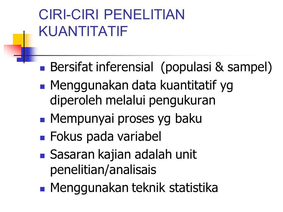 CIRI-CIRI PENELITIAN KUANTITATIF
