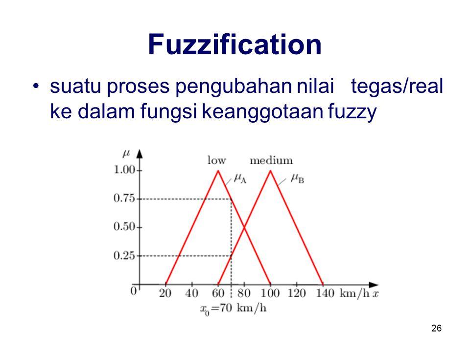 Fuzzification suatu proses pengubahan nilai tegas/real ke dalam fungsi keanggotaan fuzzy