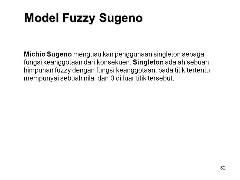 Model Fuzzy Sugeno