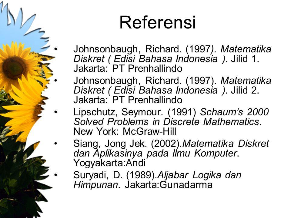 Referensi Johnsonbaugh, Richard. (1997). Matematika Diskret ( Edisi Bahasa Indonesia ). Jilid 1. Jakarta: PT Prenhallindo.