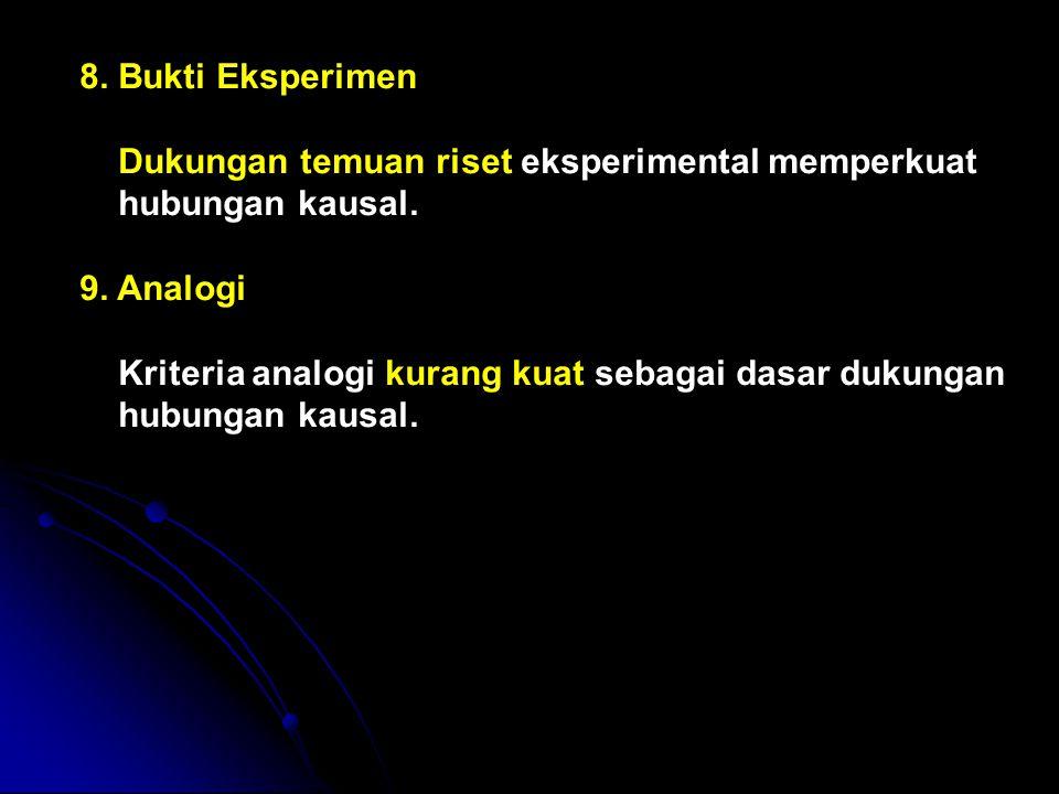 8. Bukti Eksperimen Dukungan temuan riset eksperimental memperkuat. hubungan kausal. 9. Analogi.