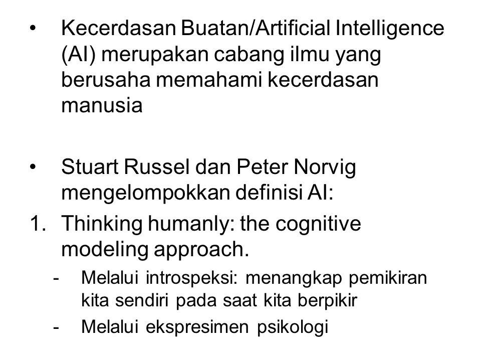 Stuart Russel dan Peter Norvig mengelompokkan definisi AI: