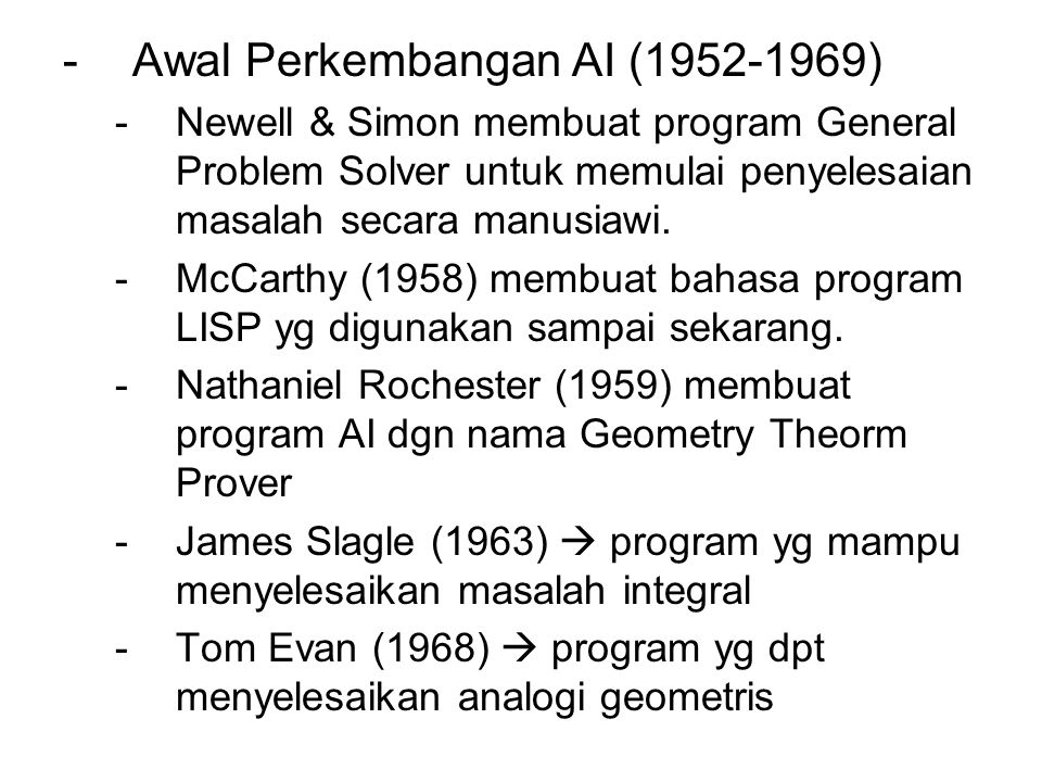 Awal Perkembangan AI (1952-1969)