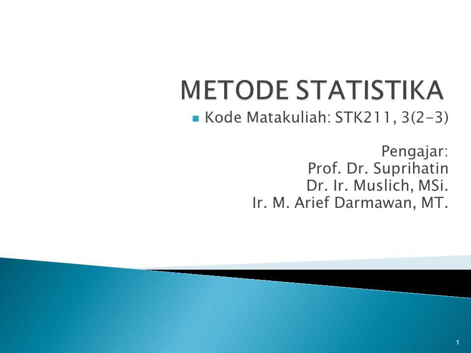 METODE STATISTIKA Kode Matakuliah: STK211, 3(2-3) Pengajar: