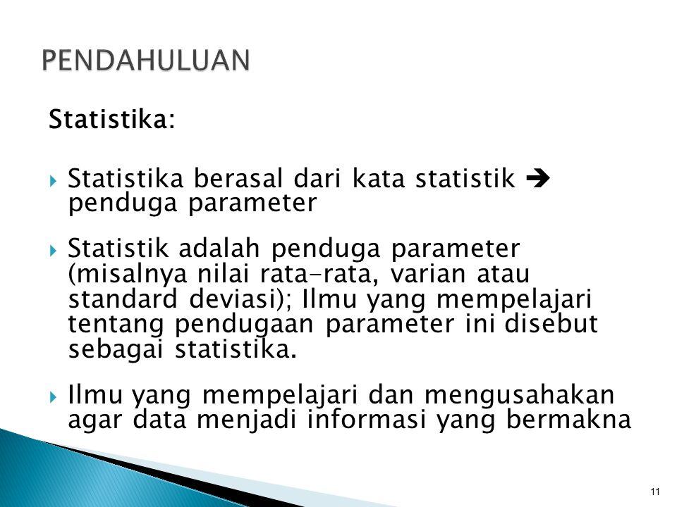 PENDAHULUAN Statistika: