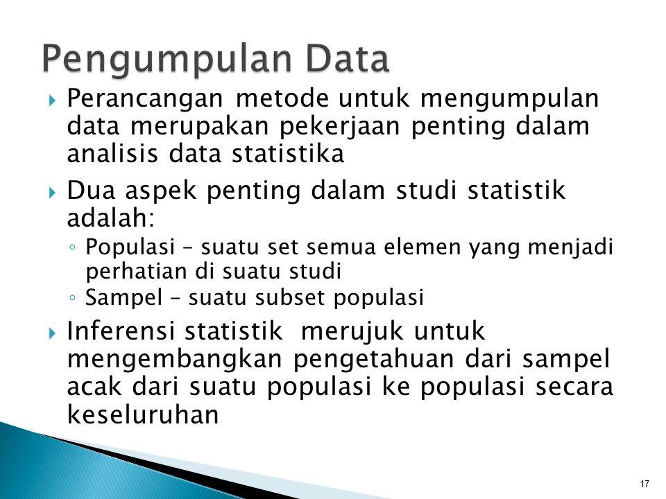 Pengumpulan Data Perancangan metode untuk mengumpulan data merupakan pekerjaan penting dalam analisis data statistika.