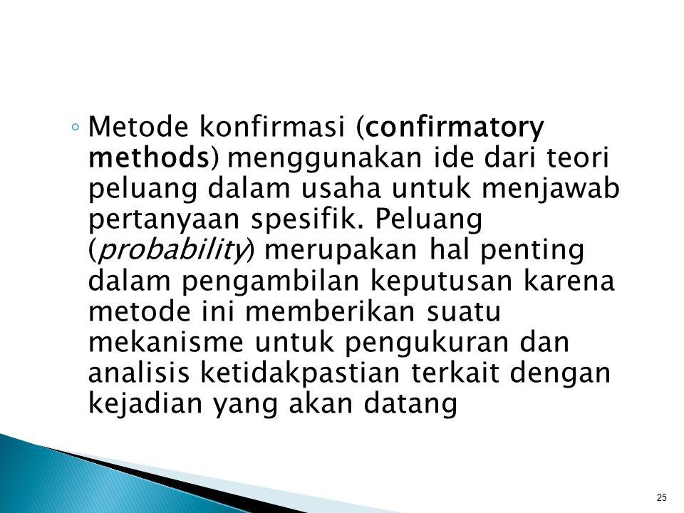 Metode konfirmasi (confirmatory methods) menggunakan ide dari teori peluang dalam usaha untuk menjawab pertanyaan spesifik.