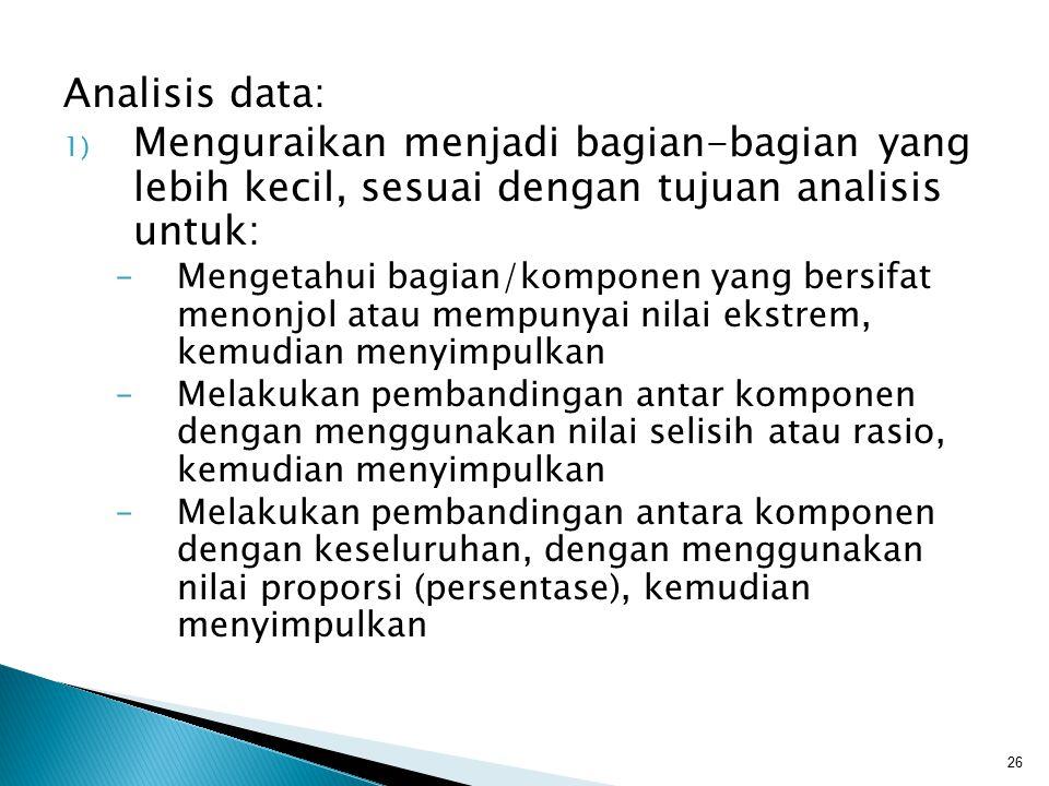 Analisis data: Menguraikan menjadi bagian-bagian yang lebih kecil, sesuai dengan tujuan analisis untuk: