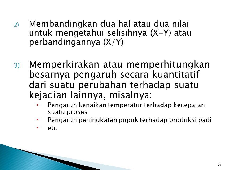 Membandingkan dua hal atau dua nilai untuk mengetahui selisihnya (X-Y) atau perbandingannya (X/Y)