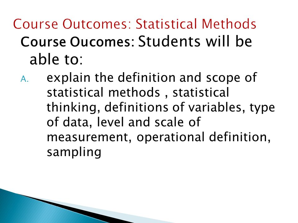 Course Outcomes: Statistical Methods