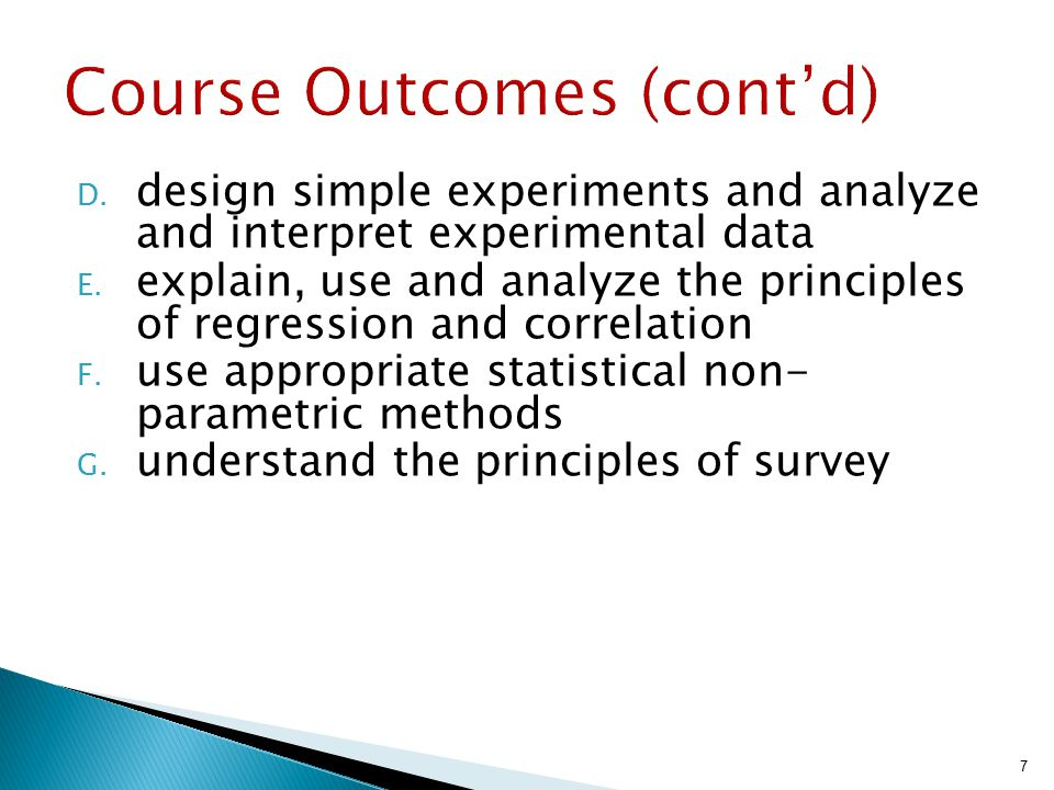 Course Outcomes (cont'd)