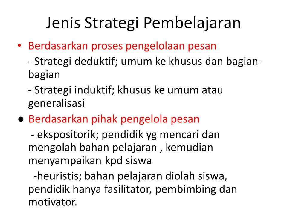 Jenis Strategi Pembelajaran