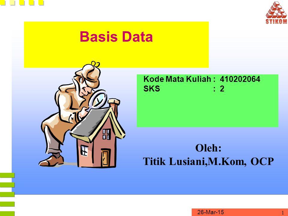 Basis Data Oleh: Titik Lusiani,M.Kom, OCP Kode Mata Kuliah : 410202064