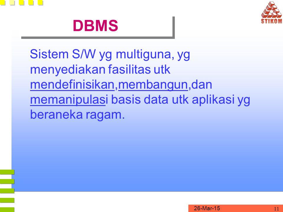 DBMS Sistem S/W yg multiguna, yg menyediakan fasilitas utk mendefinisikan,membangun,dan memanipulasi basis data utk aplikasi yg beraneka ragam.
