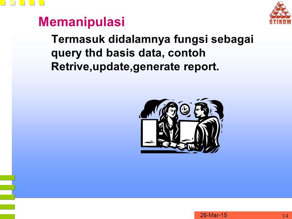 Memanipulasi Termasuk didalamnya fungsi sebagai query thd basis data, contoh Retrive,update,generate report.