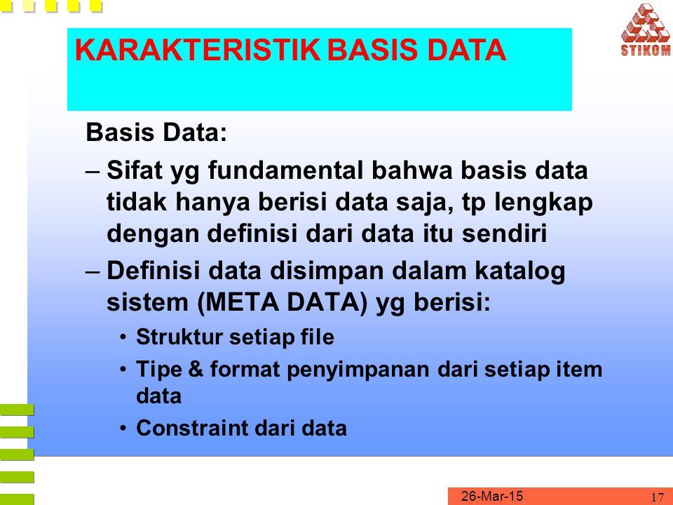 KARAKTERISTIK BASIS DATA