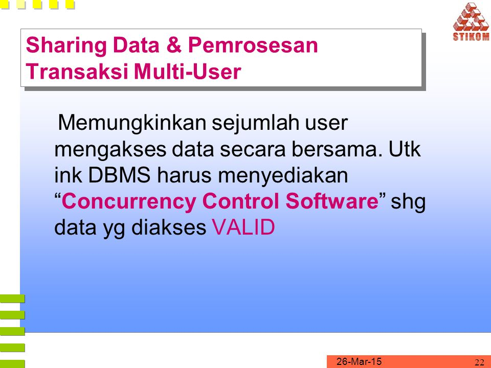 Sharing Data & Pemrosesan Transaksi Multi-User