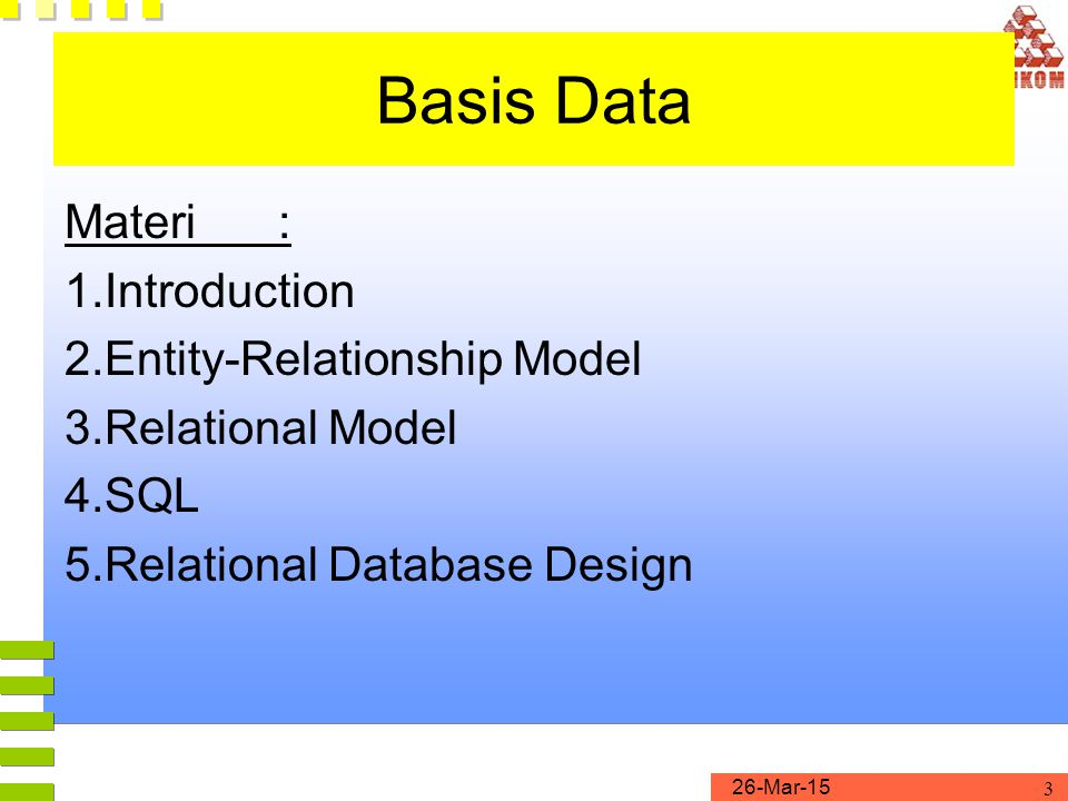 Basis Data Materi : 1. Introduction 2. Entity-Relationship Model