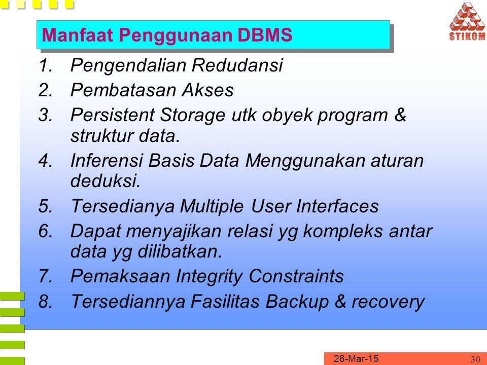 Manfaat Penggunaan DBMS