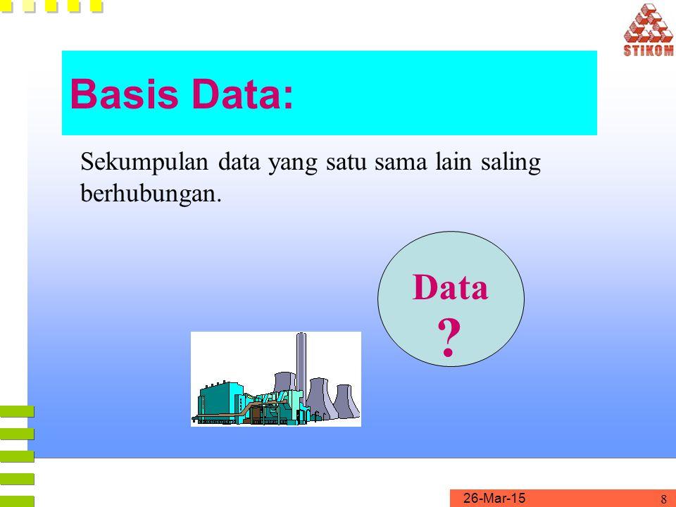 Basis Data: Sekumpulan data yang satu sama lain saling berhubungan. Data