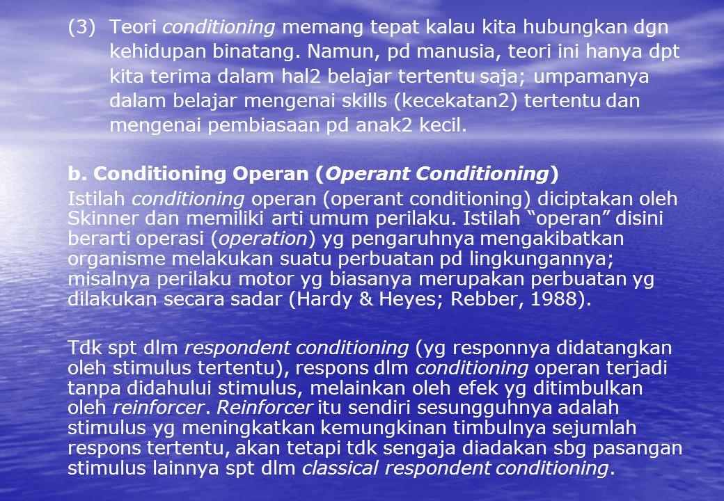 (3) Teori conditioning memang tepat kalau kita hubungkan dgn