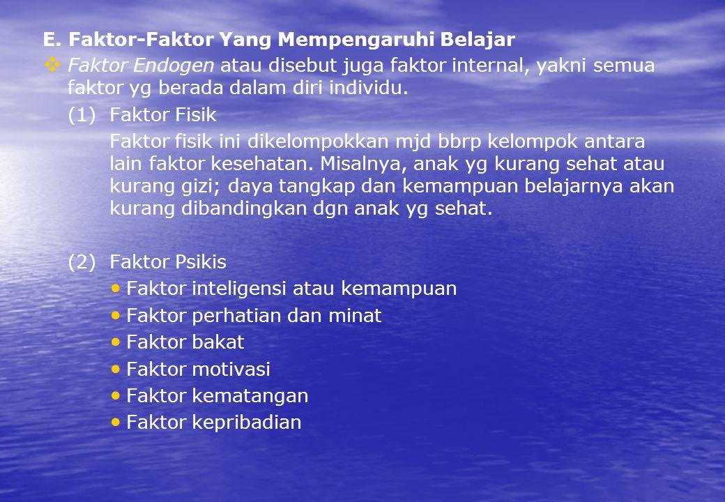 E. Faktor-Faktor Yang Mempengaruhi Belajar